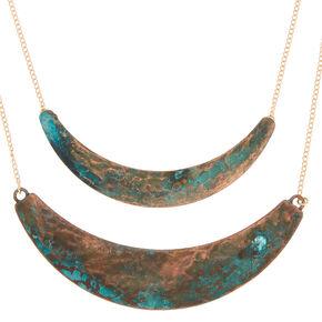 Gold Patina Bar Multi Strand Necklace,