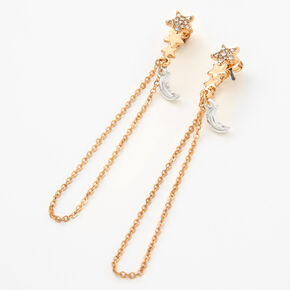 "Gold 2.5"" Celestial Chain Drop Earrings,"