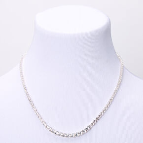 Silver Cubic Zirconia Short Graduated Statement Necklace,