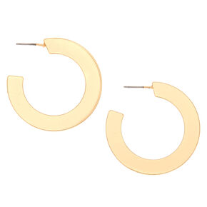 Gold 35MM Flat Matte Hoop Earrings,