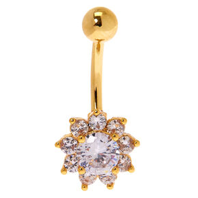Gold 14G Crystal Flower Belly Ring,