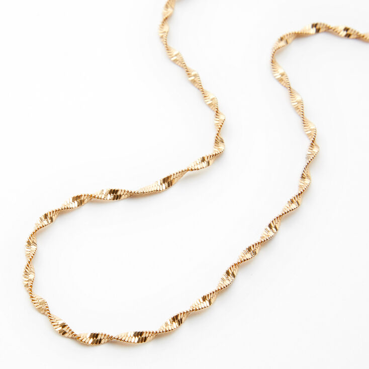 Gold Twisted Diamond Cut Chain Necklace,