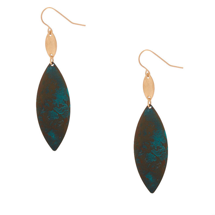 "Gold 2.5"" Patina Petal Drop Earrings,"