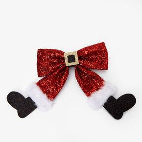 Glitter Santa Hair Bow Clip - Red,