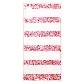 Pink Glitter Striped Phone Case - Fits iPhone XS Max,