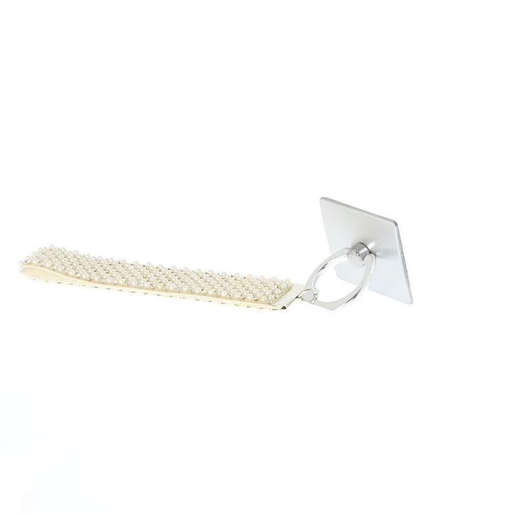 Glam Phone Stand and Wrist Strap - White,