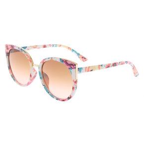 Round Floral Print Sunglasses - White,