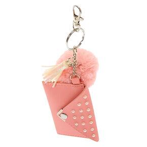 Pom Pouch Keychain - Pink,