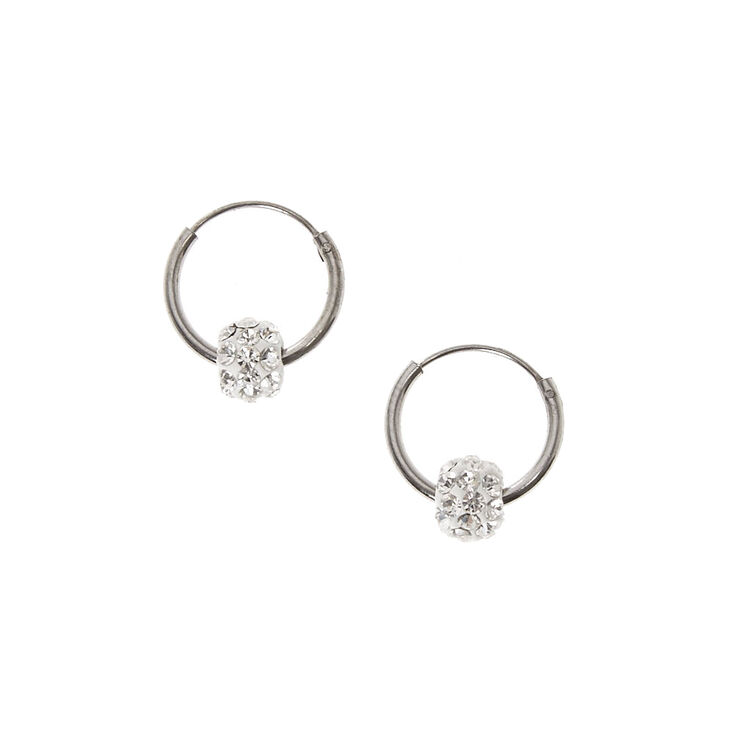 925 Sterling Silver Clear Crystal Fireball Hoops,