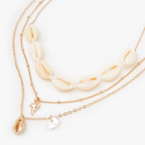 Gold Cowrie Shell Shark Tooth Multi Strand Necklace,