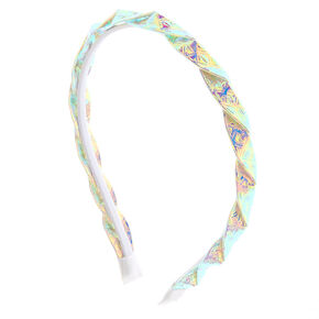 Holographic Twist Headband - White,