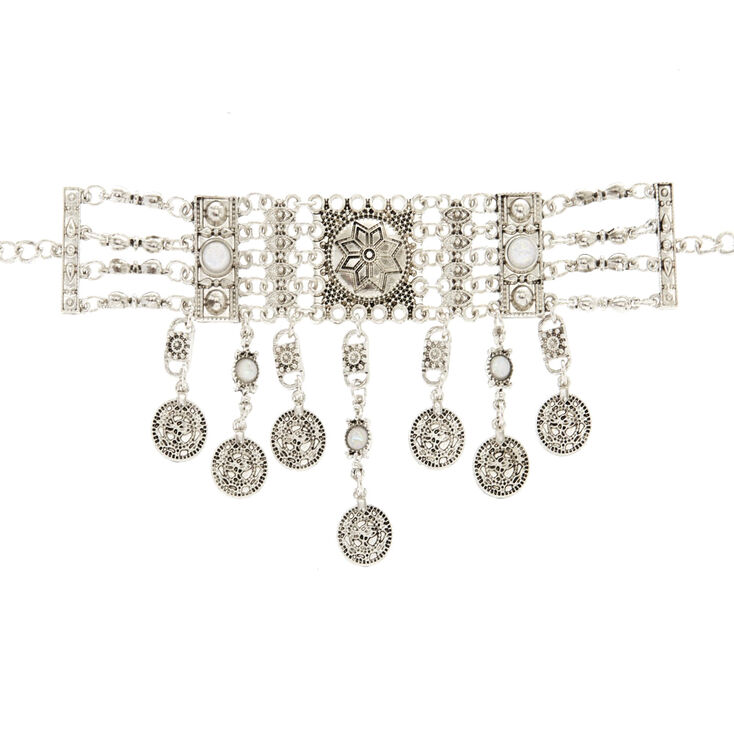 Esmeralda Silver Statement Choker Necklace,