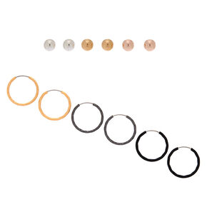 Mixed Metal Earring Set - 6 Pack,