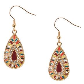 Colorful Gold Tone Teardrop Medallion Drop Earrings,