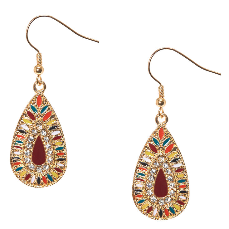 Colorful Gold Tone Teardrop Medallion Drop Earrings,