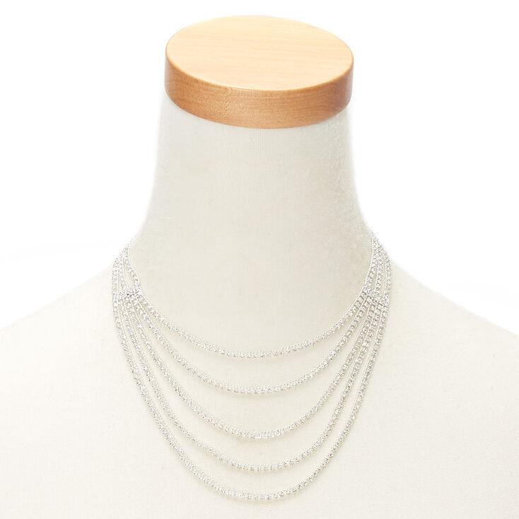 Silver Rhinestone Layered Swag Statement Necklace,
