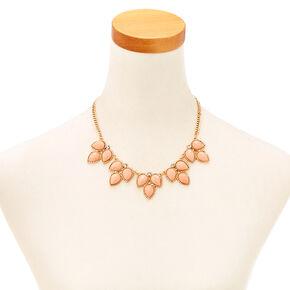 3 Leaf Blush Enamel Gem Necklace & Earrings Set,