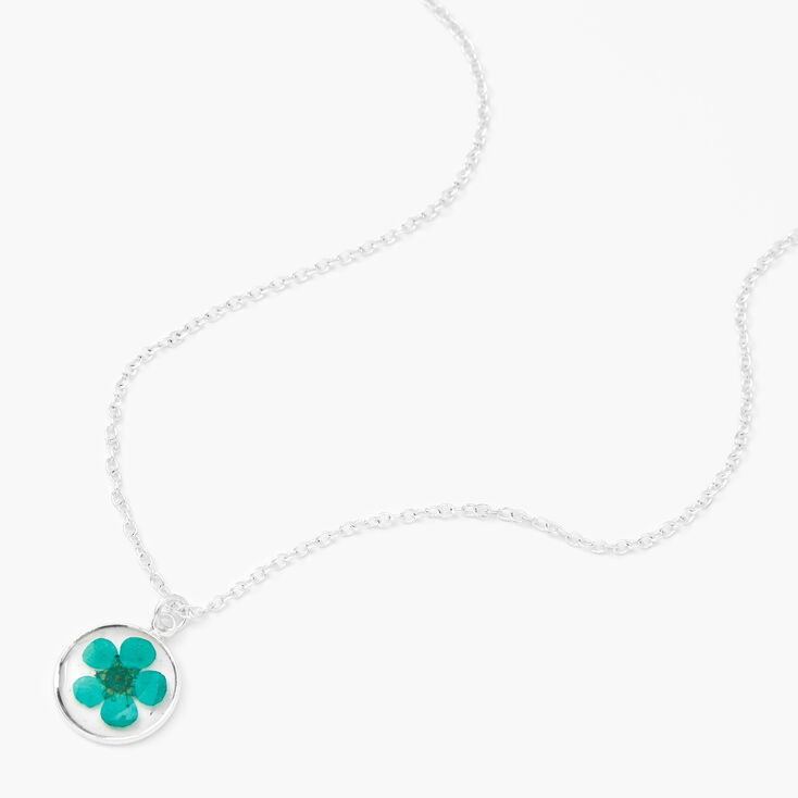 Silver Pressed Flower Pendant Necklace - Mint,