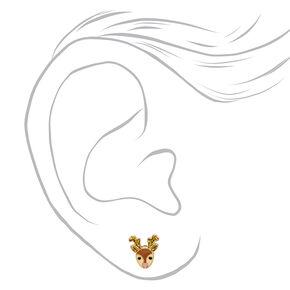 18kt Gold Plated Reindeer Stud Earrings,