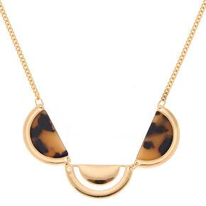Gold Tortoiseshell Half Moon Statement Necklace,