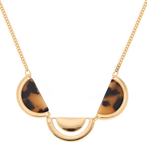 Gold Resin Tortoiseshell Half Moon Statement Necklace,