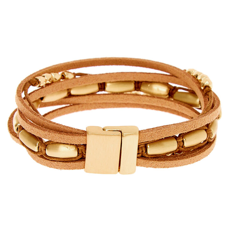 Gold Boho Chic Wrap Bracelet - Brown,