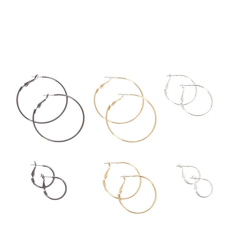 Silver, Gold & Hematite Hoop Earrings Set,