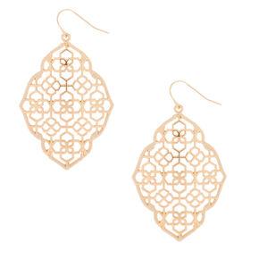 "Gold 2"" Filigree Thread Drop Earrings - Ivory,"