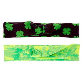 Tie Dye Shamrock Headwraps - Green, 2 Pack,