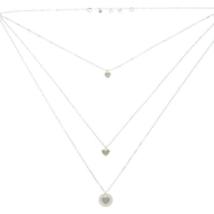 Silver Glitter Heart Multi Strand Necklace,