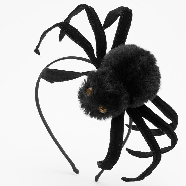 Plush Giant Spider Headband - Black,