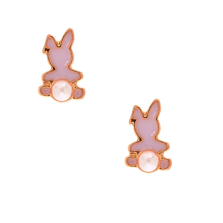 Gold Plated Pink Pearl Bunny Earrings,