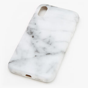 White Marble Protective Phone Case - Fits iPhone XR,