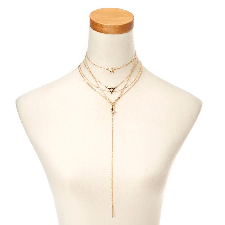 Gold-Tone Mystical Themed Layered Necklace,