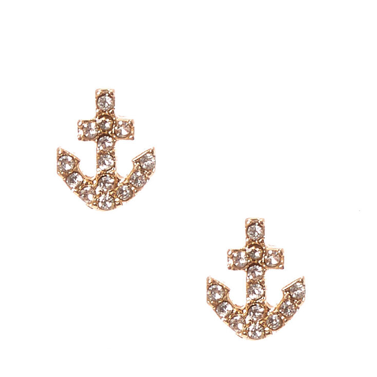 Silver And Gold Toned Anchor Stud Earrings,