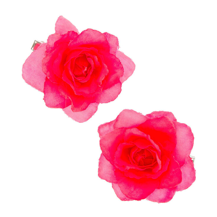 Neon Pink Rose Hair Clips,
