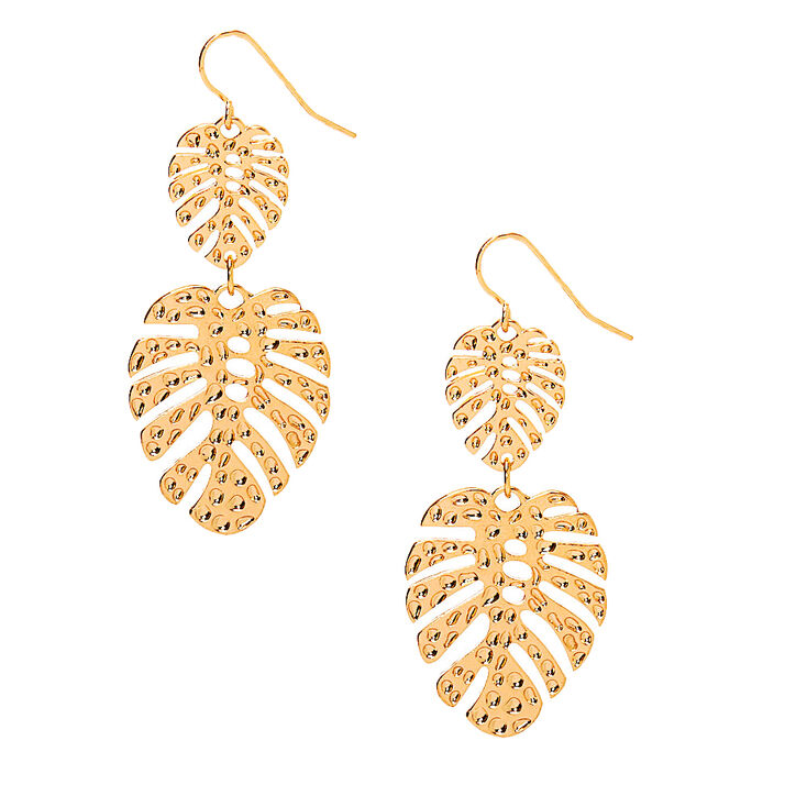 "Gold 2"" Palm Leaf Drop Earrings,"