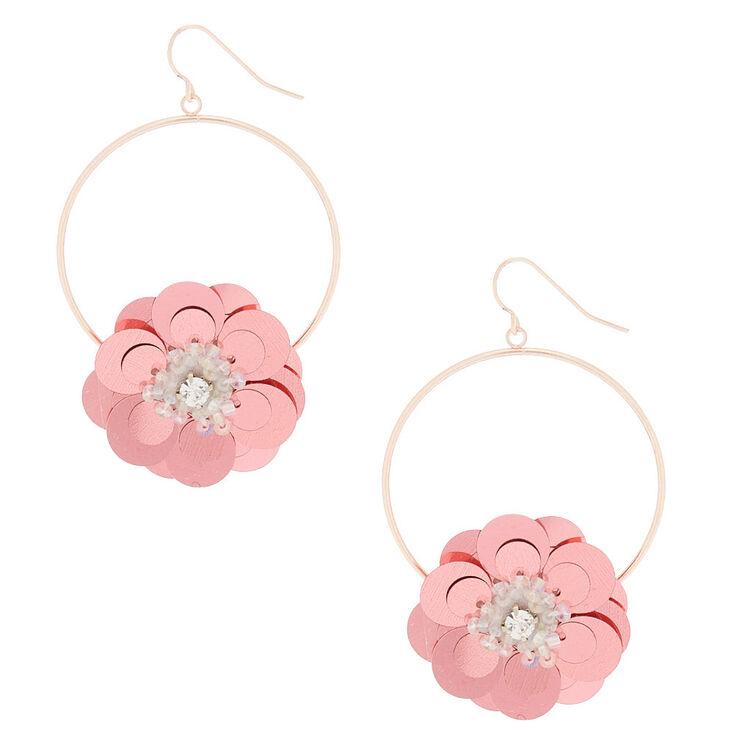 "Rose Gold 2.5"" Sequin Flower Drop Earrings - Pink,"