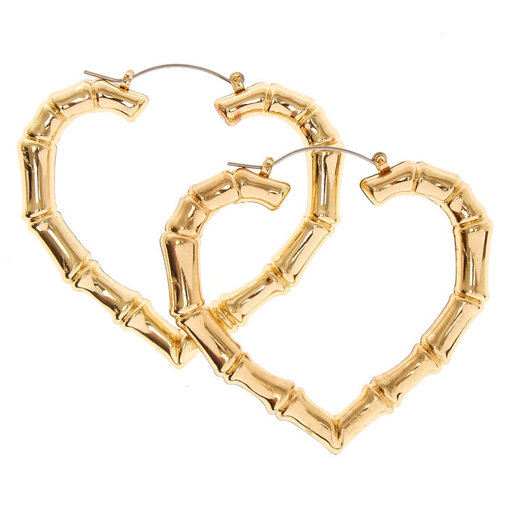Gold Tone Heart Shaped Bamboo Hoop Earrings,