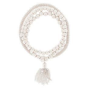 Silver Tassel Stretch Bracelets - 3 Pack,