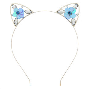 Sequin Flower Cat Ears Headband - Baby Blue,