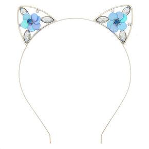 Sequin Flower Cat Ears Headband - Baby Blue,