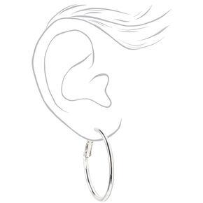 Silver Sleek Hoop Earrings,