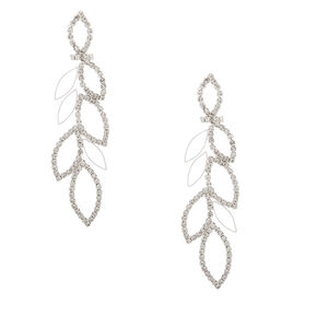 "Silver Rhinestone 3"" Leaf Drop Earrings,"