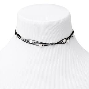 Silver Hearts Multi Cord Choker Necklace,