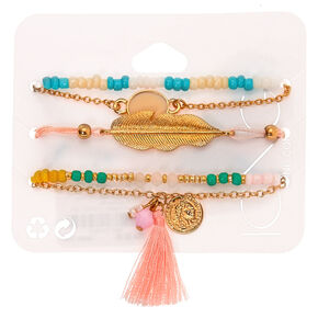 Gold Pastel Tropical Bracelets - 5 Pack,