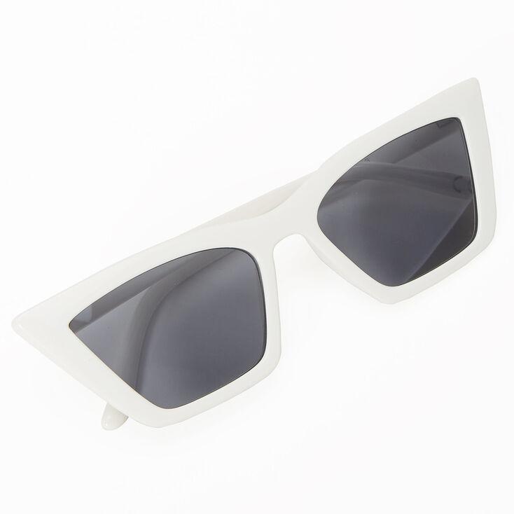 Rectangular Cat Eye Sunglasses - White,