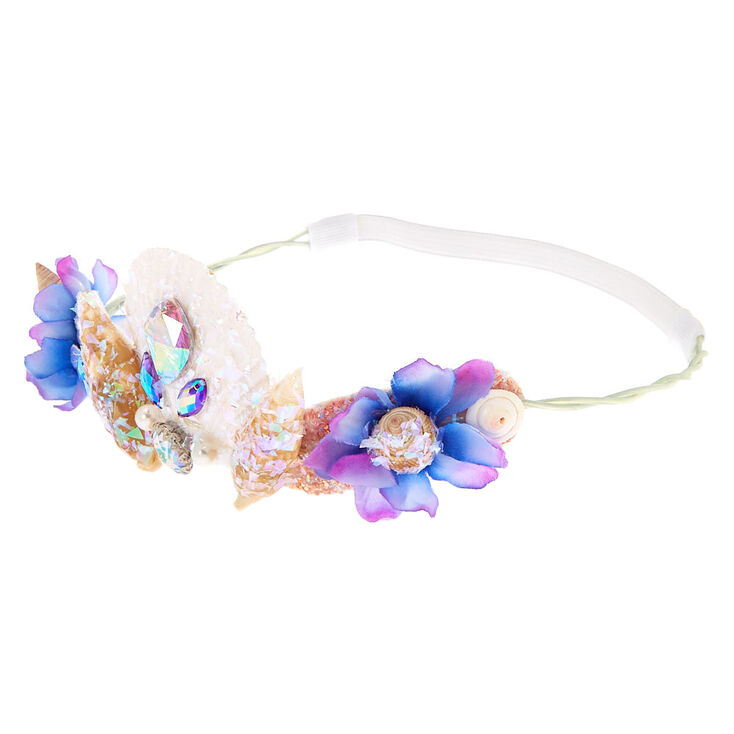 Iridescent Sequin Seashell Headwrap - Purple,