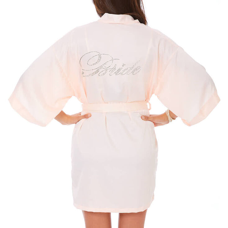 Light Pink Satin & Crystal Bride Robe - S/M,