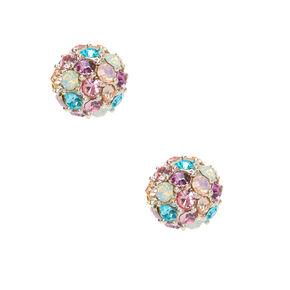 Silver Rainbow Crystal Fireball Stud Earrings,